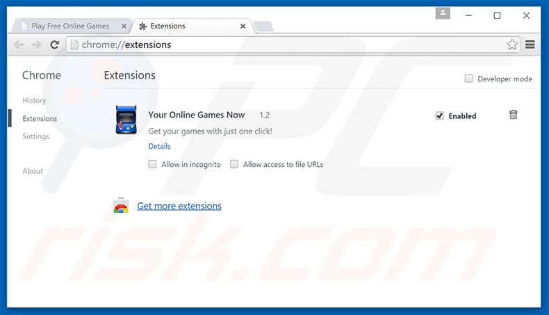 Removing search.youronlinegamesnow.com related Google Chrome extensions