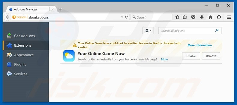 Removing search.youronlinegamesnow.com related Mozilla Firefox extensions