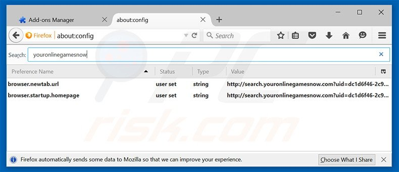 Removing search.youronlinegamesnow.com from Mozilla Firefox default search engine