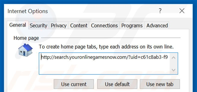 Removing search.youronlinegamesnow.com from Internet Explorer homepage