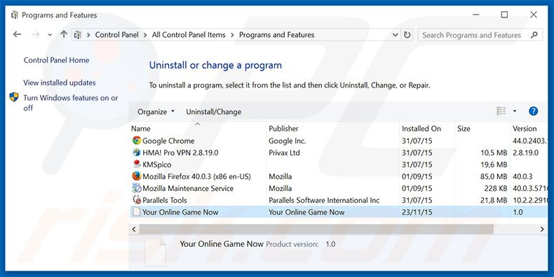 search.youronlinegamesnow.com browser hijacker uninstall via Control Panel