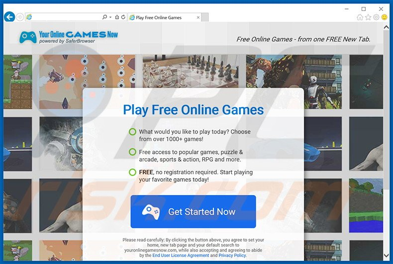 Website used to promote Your Online Game Now browser hijacker
