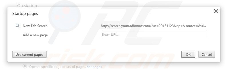 Removing search.yourradionow.com from Google Chrome homepage
