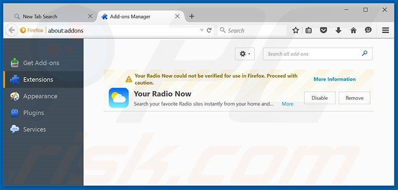 Removing search.yourradionow.com related Mozilla Firefox extensions
