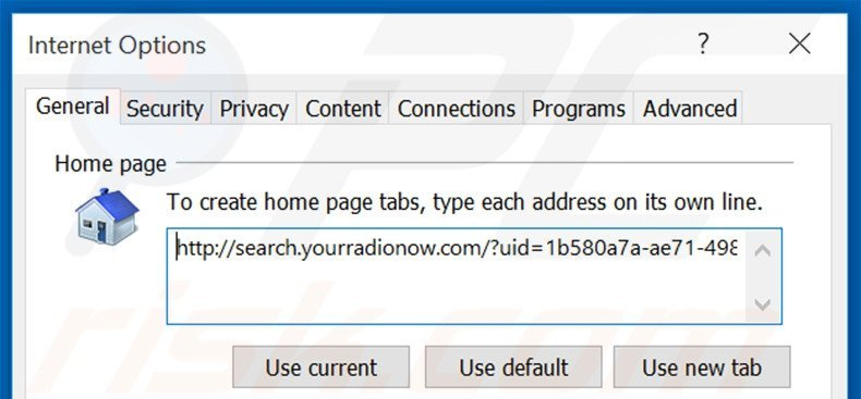 Removing search.yourradionow.com from Internet Explorer homepage