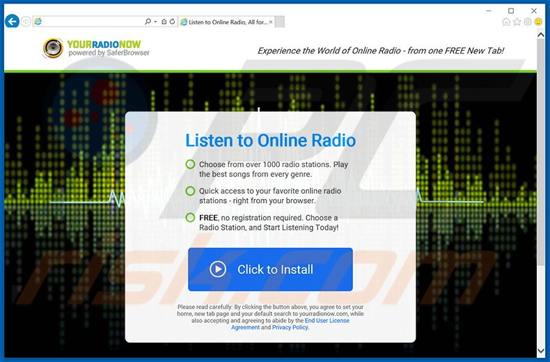 Website used to promote Your Radio Now browser hijacker