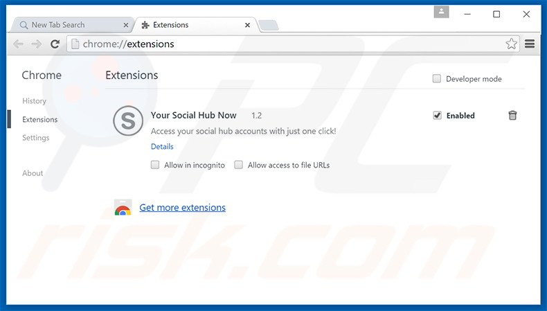 Removing search.yoursocialhubnow.com related Google Chrome extensions