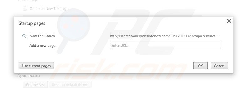 Removing search.yoursportsinfonow.com from Google Chrome homepage
