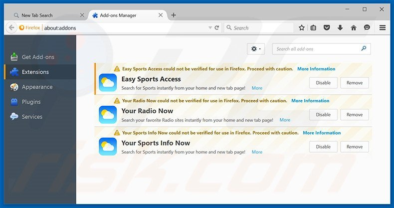 Removing search.yoursportsinfonow.com related Mozilla Firefox extensions