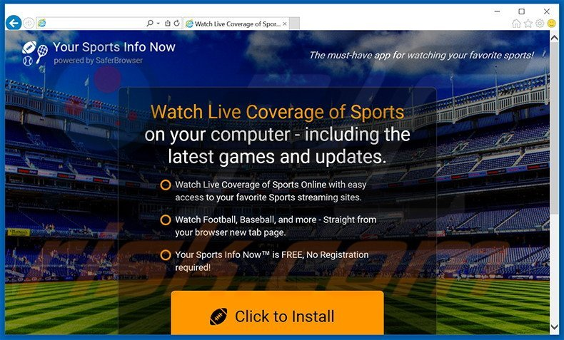 Website used to promote Your Sports Info Now browser hijacker