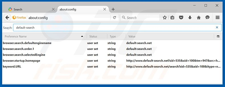 Removing default-search.net from Mozilla Firefox default search engine