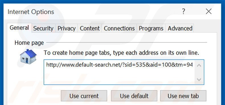 Removing default-search.net from Internet Explorer homepage