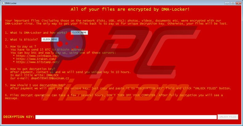 DMA-Locker decrypt instructions