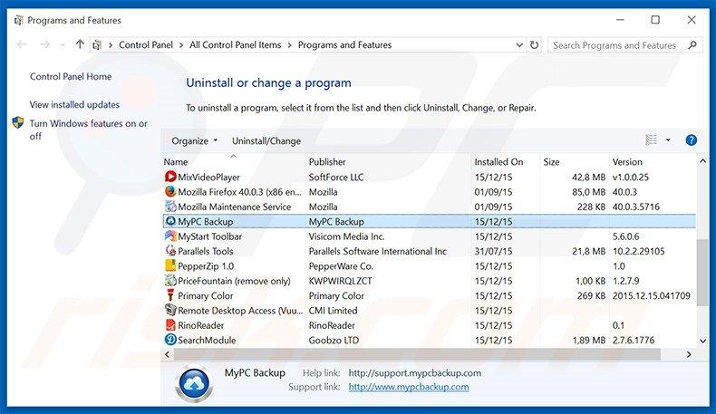 MyPC Backup adware uninstall via Control Panel