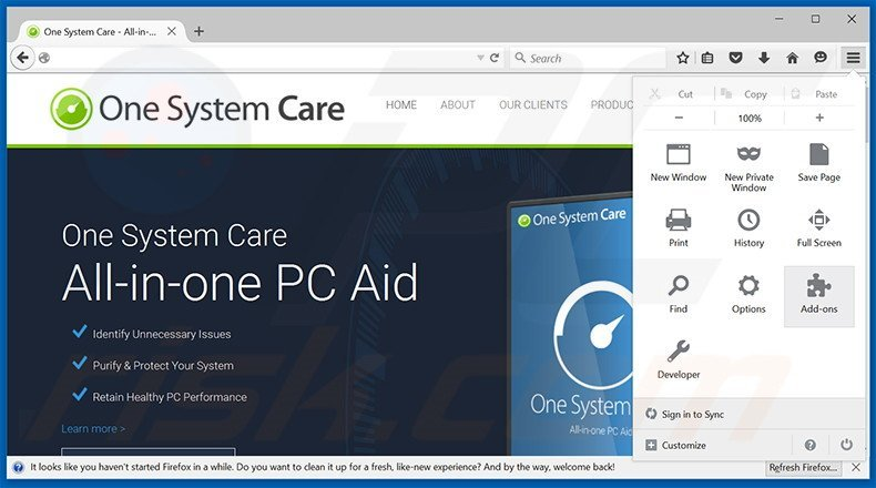 Removing One System Care ads from Mozilla Firefox step 1