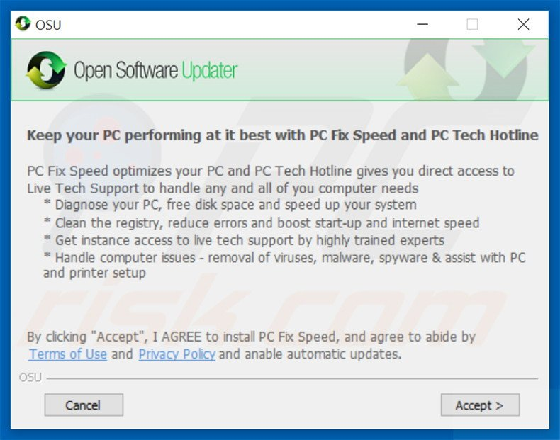 Delusive installer spreading PC Fix Speed