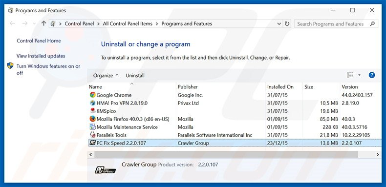 PC Fix Speed adware uninstall via Control Panel