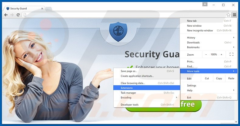 Removing Security Guard ads from Google Chrome step 1