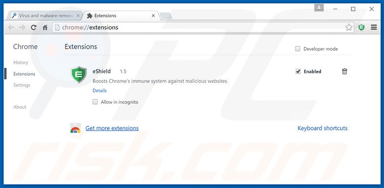 Removing Security Guard ads from Google Chrome step 2