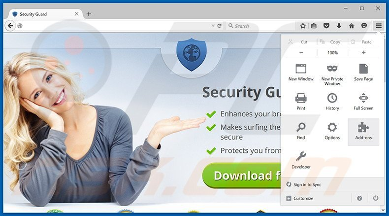Removing Security Guard ads from Mozilla Firefox step 1