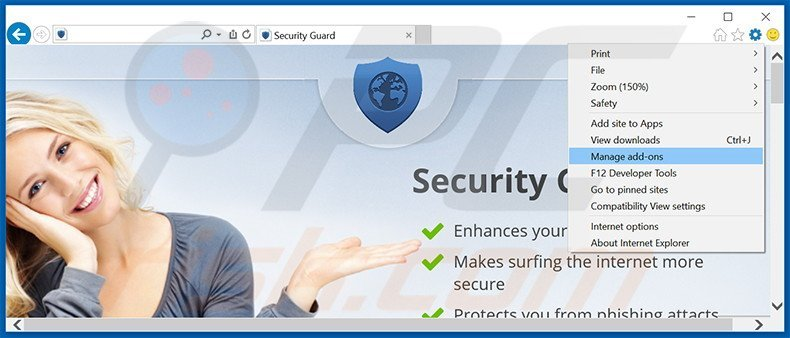 Removing Security Guard ads from Internet Explorer step 1