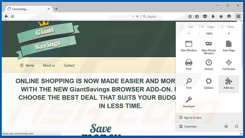 Removing Giant Savings ads from Mozilla Firefox step 1