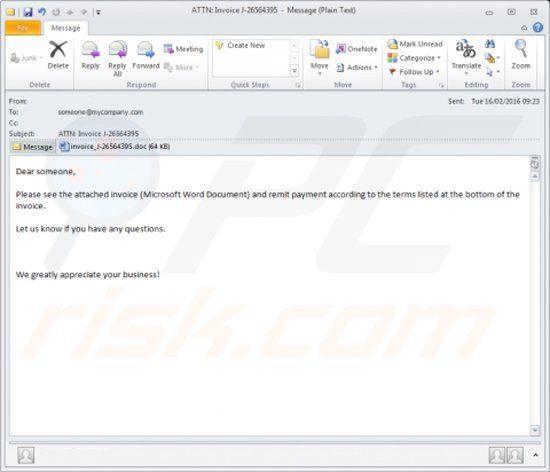 infected email attachment distributing Locky ransomware