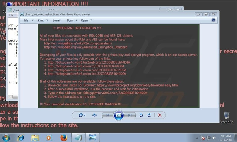 locky ransomware attacking victims computer
