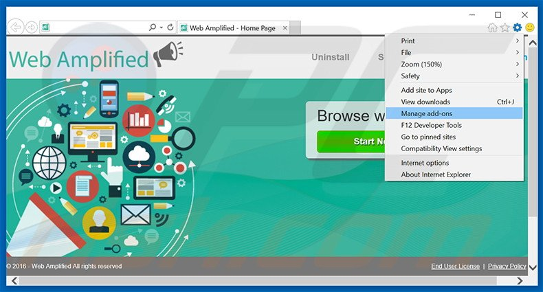 Removing Web Amplified ads from Internet Explorer step 1