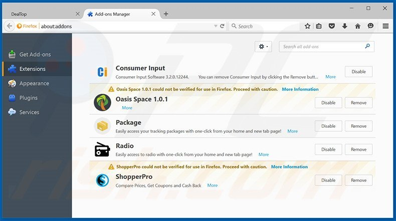 Removing Wind Browser ads from Mozilla Firefox step 2