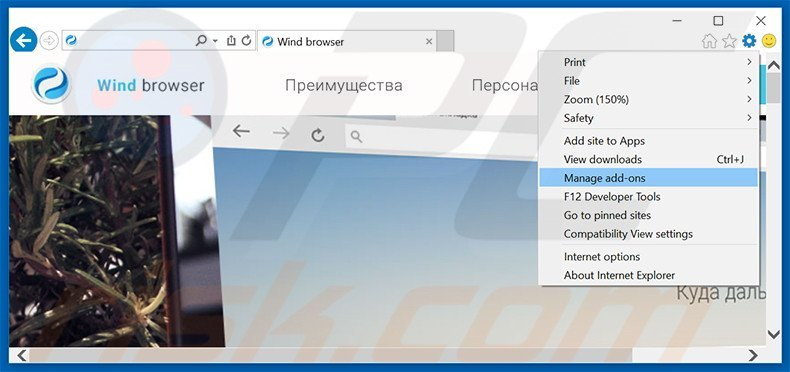 Removing Wind Browser ads from Internet Explorer step 1