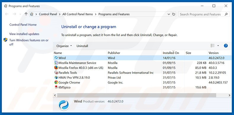 Wind Browser adware uninstall via Control Panel