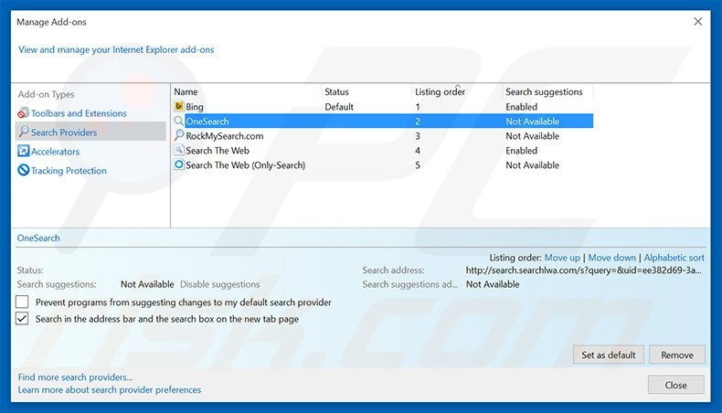 how to set your default search engine in ie