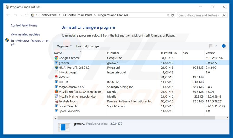 groover adware uninstall via Control Panel