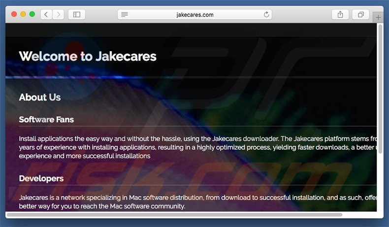 Dubious website used to promote search.jakecares.com