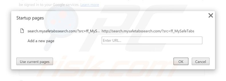 Removing search.mysafetabssearch.com from Google Chrome homepage