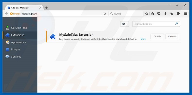 Removing search.mysafetabssearch.com related Mozilla Firefox extensions