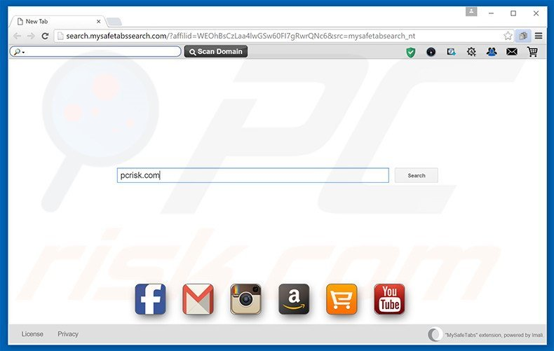 search.mysafetabssearch.com browser hijacker