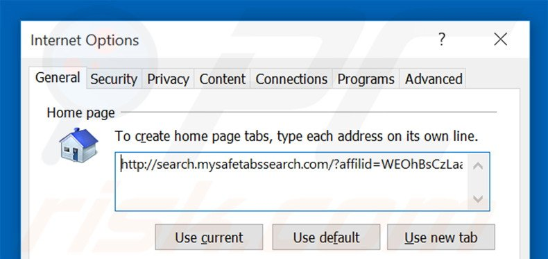 Removing search.mysafetabssearch.com from Internet Explorer homepage
