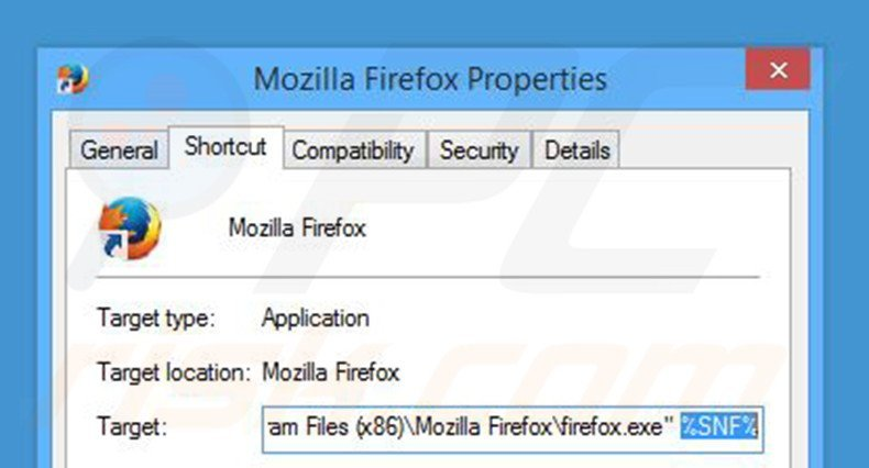 Removing search.snapdo.com from Mozilla Firefox shortcut target step 2