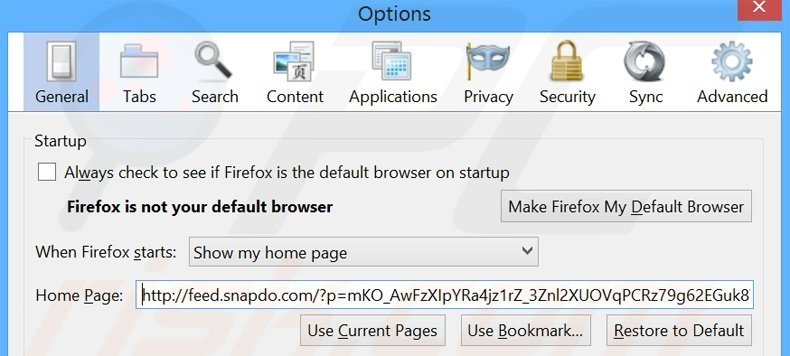 Removing search.snapdo.com from Mozilla Firefox homepage