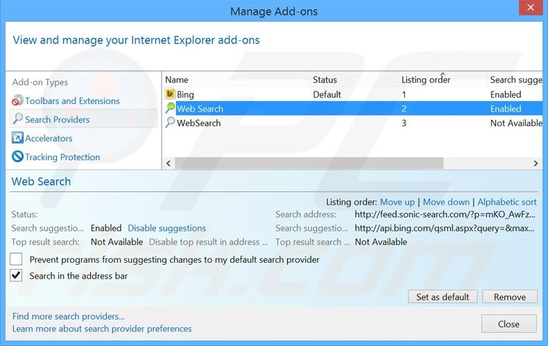 Removing search.snapdo.com from Internet Explorer default search engine