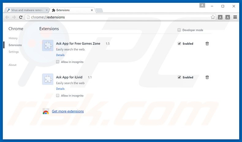 Removing Social2Search ads from Google Chrome step 2