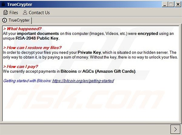 TrueCrypt window stating that the files have been encrypted