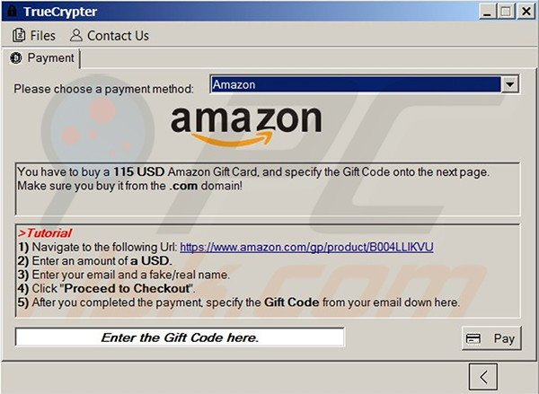 TrueCrypt decrypter accepting Amazon Gift Cards