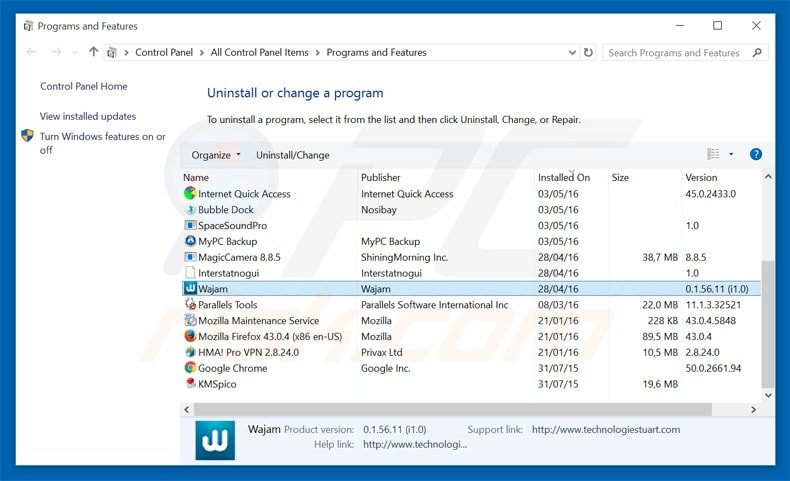 wajam adware uninstall via Control Panel