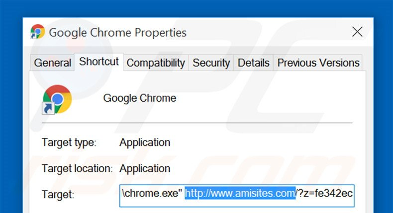 Removing amisites.com from Google Chrome shortcut target step 2