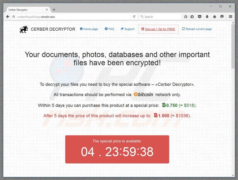 cerber ransomware website homepage