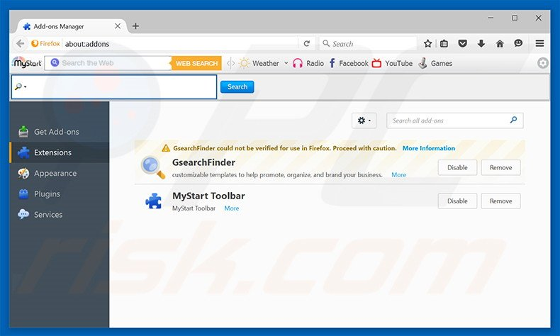 Removing gosearchitnow.com related Mozilla Firefox extensions