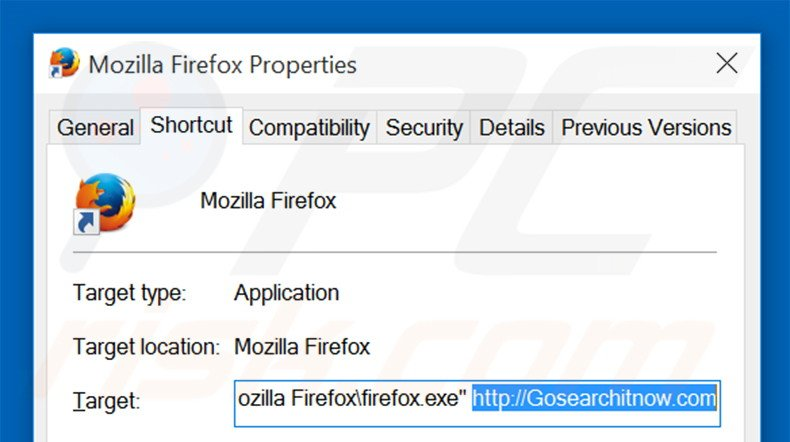 Removing gosearchitnow.com from Mozilla Firefox shortcut target step 2